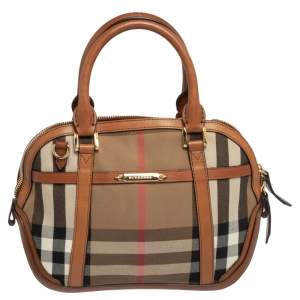 Burberry Multicolor Leather And Canvas Birdle House Check Orchard Small Bowling Bag