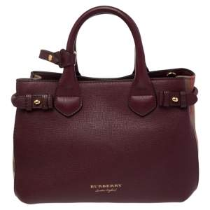 Burberry Burgundy/Beige Leather and House Check Canvas Small Banner Tote