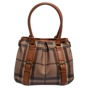 Burberry Brown/Beige Smoke Check PVC and Leather Northfield Tote