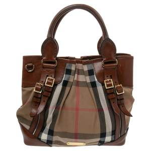 Burberry Brown/Beige Housecheck Canvas and Leather Bridle Tote