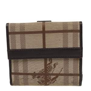 Burberry Beige/Brown Haymarket Check Canvas And Leather Trifold Compact Wallet