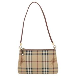 Burberry Beige/Red Haymarket Check PVC and Leather Pochette Bag