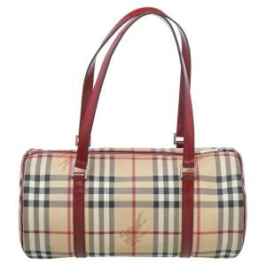 Burberry Beige Haymarket Check Canvas And Leather Satchel