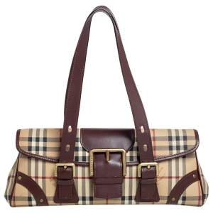 Burberry Beige/Brown Haymarket Check Canvas and Leather Satchel