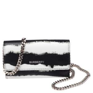 Burberry Black/White Leather Card Case On Detachable Chain