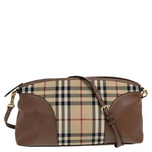 Burberry Brown Leather And Horseferry Check Canvas Small Chichester Shoulder Bag
