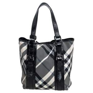 Burberry Black Beat Check Nylon and Patent Leather Lowry Tote