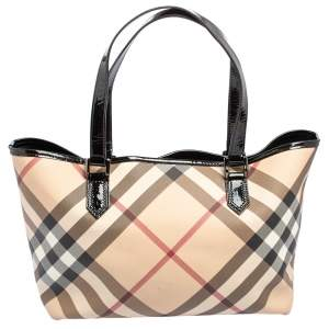 Burberry Beige/Black Novacheck PVC and Patent Leather Nickie Tote