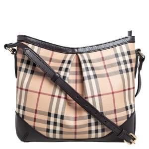 Burberry Brown/Beige Haymarket Check PVC and Leather Hartham Shoulder Bag