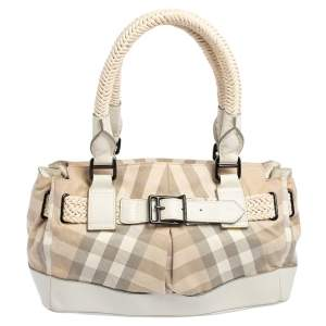 Burberry Cream/Beige Nova Check Canvas and Leather Buckle Detail Satchel
