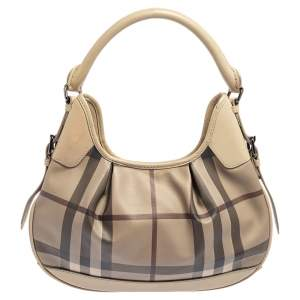 Burberry Beige Leather And Smoke Check PVC Small Brooklyn Hobo