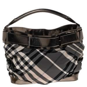 Burberry Metallic Grey Leather And Beat Check Nylon Shoulder Bag