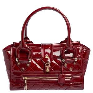 Burberry Red Quilted Patent Leather Manor Satchel