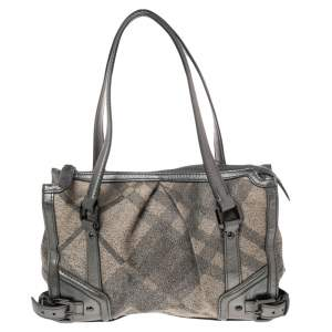 Burberry Beige/Metallic Grey Fabric Check and Leather Pilgrim Tote