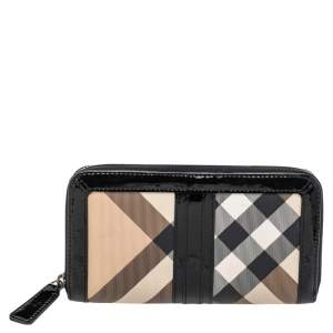 Burberry Black/Beige Patent Leather And Nova Check PVC Zip Around Wallet