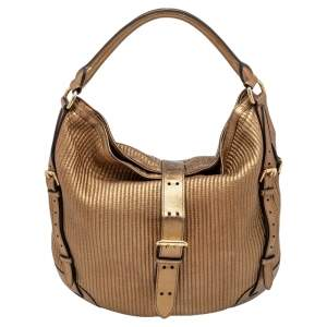 Burberry Gold Quilted Leather Hobo