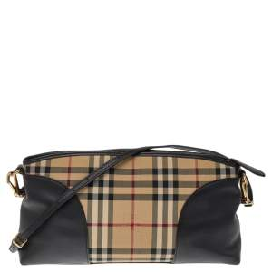 Burberry Beige/Black Housecheck Coated Canvas And Leather Shoulder Bag
