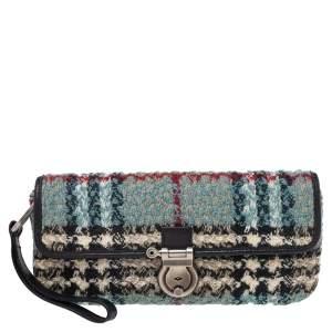 Burberry Blue Nova Check Wool Wristlet