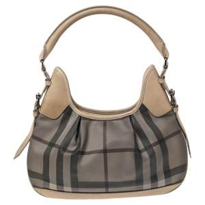 Burberry Grey/Beige Smoked Check PVC and Leather Small Brooklyn Hobo