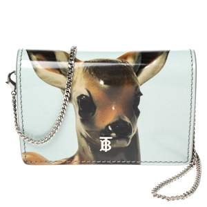 Burberry Light Blue/Brown Leather Bambi Card Case on Detachable Chain