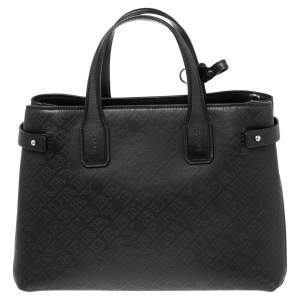 Burberry Black Logo Perforated Leather Medium Banner Tote