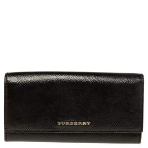 Burberry Black Patent Leather Logo Flap Continental Wallet