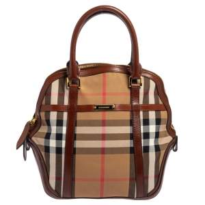 Burberry Beige/Brown Vintage Check Canvas and Leather Orchard Bowling Bag