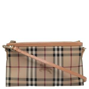 Burberry Beige Haymarket Coated Canvas and Patent Leather Peyton Slim Crossbody Bag
