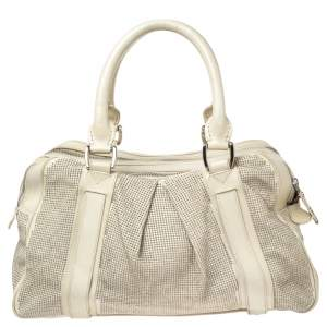 Burberry Off White Leather Studded Ashbury Knight Satchel