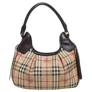 Burberry Brown/Beige Haymarket Check Coated Canvas and Leather Small Brooklyn Hobo