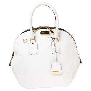 Burberry White Embossed Leather Medium Orchard Bowler Bag