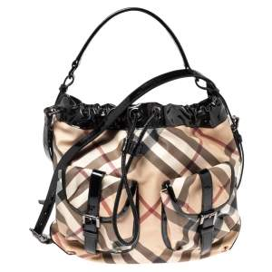 Burberry Black/Beige Supernova Coated Canvas and Patent Leather Drawstring Double Pocket Hobo