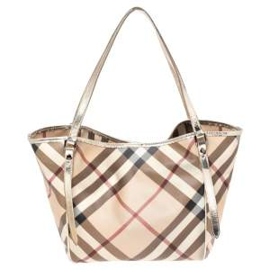 Burberry Gold/Beige Supernova Check Coated Canvas and Patent Leather Canterbury Tote
