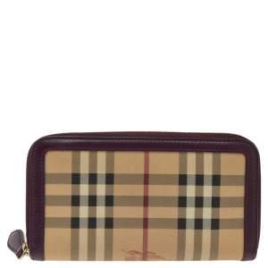 Burberry Beige/Burgundy Haymarket Check Coated Canvas Zip Around Wallet