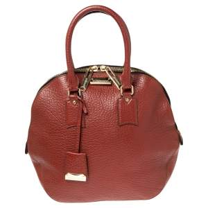 Burberry Copper Brown Grain Leather Medium Orchard Bowler Bag