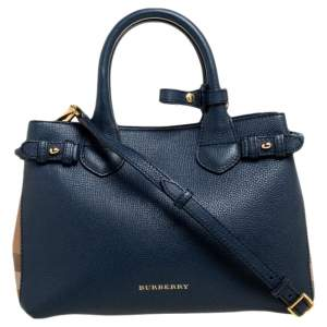 Burberry Blue/Beige Leather and House Check Fabric Small Banner Tote
