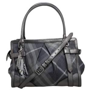 Burberry Metallic Grey Beat Check Canvas and Leather Convertible Tote