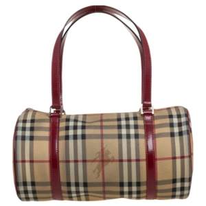 Burberry Red/Beige Haymarket Check Coated Canvas and Leather Trim Barrel Bag