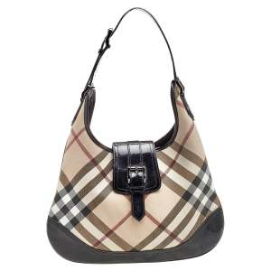 Burberry Black/ Beige  Nova Check Coated Canvas And Patent Leather 'Brooke' Hobo