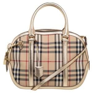 Burberry Beige/Metallic Gold Haymarket Check Nylon and Leather Small Orchard Bowler Bag