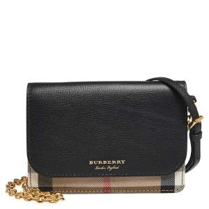 Burberry Black/Beige Housecheck Canvas and Leather Hampshire Crossbody Bag