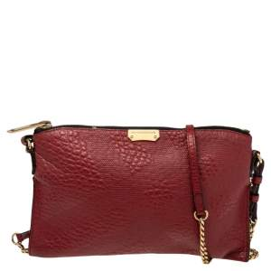 Burberry Red Leather Small Heritage Chichester Clutch Bag