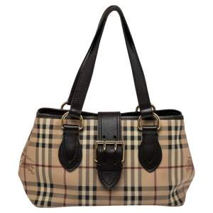 Burberry Brown/Beige Haymarket Check Coated Canvas and Leather Trim Eden Tote