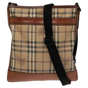 Burberry Brown/Beige Haymarket Check Coated Canvas and Leather Messenger Bag