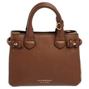 Burberry Brown/Beige House Check Canvas and Leather Mini Banner Tote