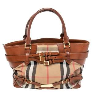 Burberry Beige/Brown House Check Canvas and Leather Medium Bridle Lynher Tote