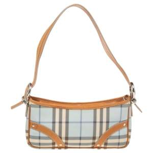 Burberry Tan/Blue House Check Coated Canvas and Leather Baguette Bag
