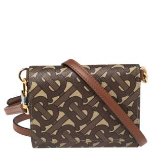 Burberry Beige/Brown TB-Print Coated Canvas Ottis Bridle Wallet on Strap