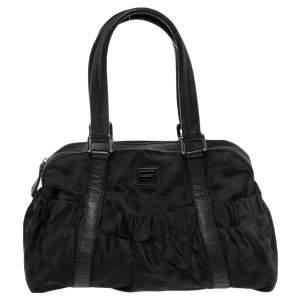 Burberry Black Check Nylon and Leather Trim Satchel