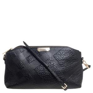 Burberry Black Embossed Leather Chichester Crossbody Bag